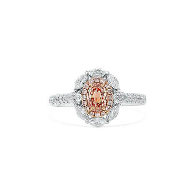 1.13 Ct Real Oval Cut Fancy Brown Pink Diamond Ring Natural 18K White Gold GIA