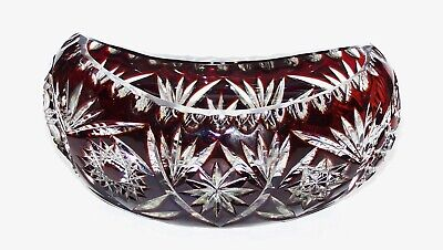 Exquisite Bohemian Czech Ruby Red Cut To Clear Crystal Cased Glass Oval Bowl