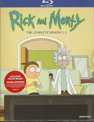 RICK AND MORTY THE COMPLETE SEASONS 1-3 BLURAY SET with Justin Roiland