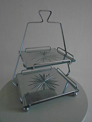 PERIOD  1930s ART DECO  TWO TIER  MIRRORED GLASS STARBURST CAKE STAND
