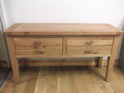 Solid Oak Wood Sideboard Console Hall Table Unit with 4 x Drawers, 140cm x 46cm