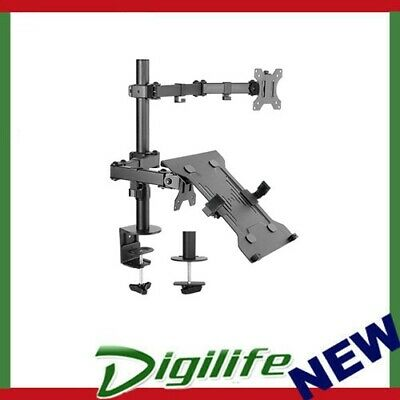 Brateck Economical Double Joint Articulating Steel Monitor Arm with Laptop