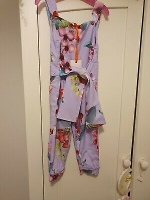 Ted Baker Girls floral Bow Jumpsuit/dungarees 3-4 years