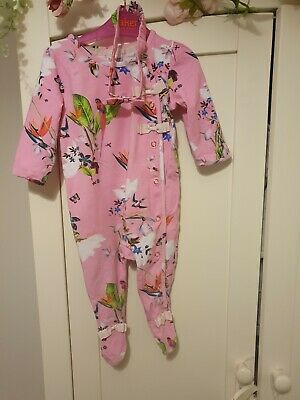 Ted Baker baby girls pink floral Babygrow 6-9 Months