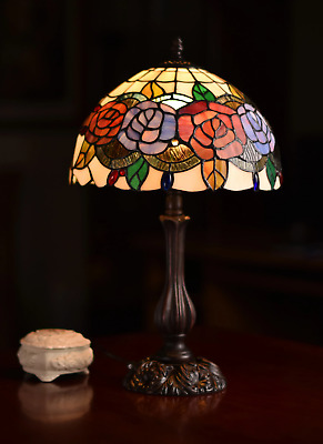 """12""""Rose Style Leadlight Stained Glass Tiffany Bedside Lamp"""