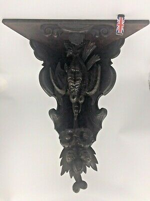 amazing very rare large antique Victorian /pre Victorian carved corner shelf 21""