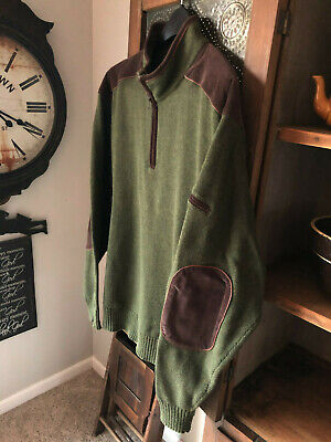 Mens Orvis Pullover 1/4 Zip With Elbow Patches Sz Large Leather Trim