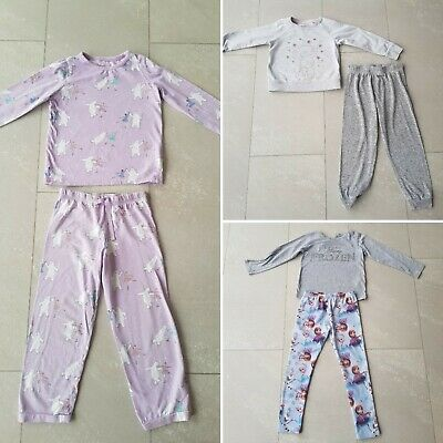 3 x PJ Pyjama Sleepwear Bundle Marks & Spencer Frozen / Tatty Teddy 4-5/ 5-6 Yrs