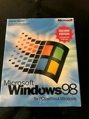 Microsoft Windows 98 2nd Edition for PCs w/out Windows-with Product Key/CD/Flopp