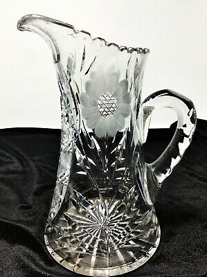 Antique ABP American Brilliant Period Cut Glass Pitcher Floral Design 10 1/2""