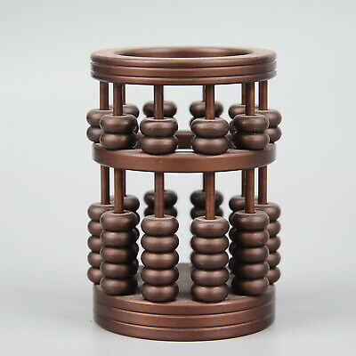 Collectable China Old Red Copper Hand-Carved Delicate Unique Noble Abacus Statue