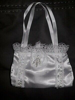 Lace Trimmed Communion Bag. With Velcro Fastening And Bead Detail On Both Sides