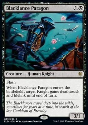 *Magic MtG: 4x Blacklance Paragon (Rare) - Throne of Eldraine *TOP*