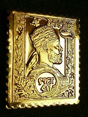 Ethiopia 1894 1/4 Guerche Gold Plated Silver Stamp Ingot Franklin Mint