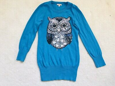 Girls Teal Sequin Owl Jumper Dress Age 7-8 Years From Debenhams