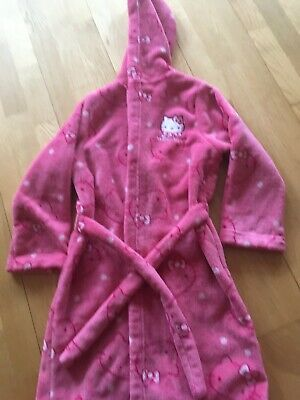 M&S Hello Kitty Girls Pink Dressing Gown Age 7-8 Years
