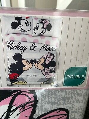 DISNEY MICKEY MOUSE AND MINNIE MOUSE GIRLS DUVET COVER BEDDING SET DOUBLE New