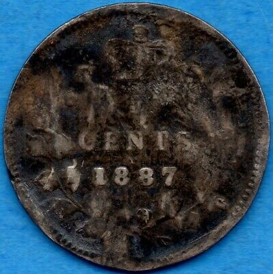Canada 1887 5 Cents Five Cent Small Silver Coin - Better Date - Damaged