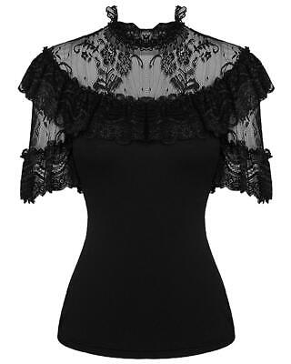 Dark In Love Womens Gothic Top Black Lace Steampunk Lolita VTG Victorian Blouse