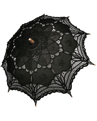 Dark In Love Gothic Lace Parasol Umbrella Black Steampunk Lolita VTG Victorian