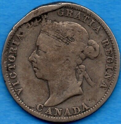 Canada 1887 25 Cents Twenty Five Cent Silver Coin - Damaged