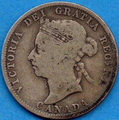 Canada 1891 25 Cents Twenty Five Cent Silver Coin - Very Good