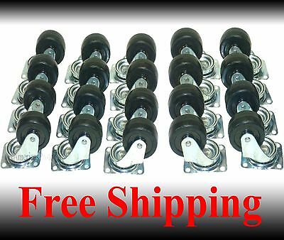 """Caster Wheel With Ball Bearings Lot of 20 New 2"""" Swivel Base Casters"""