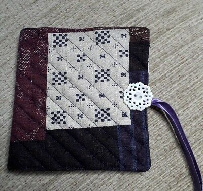 Quilted Handmade Needle Book Japanese Fabric white doily button