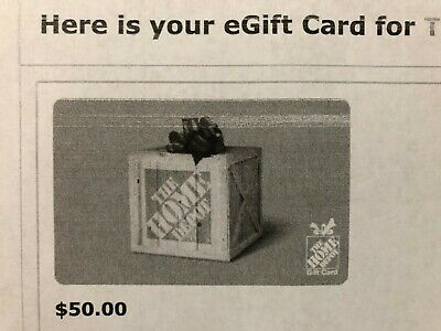 Home Depot $50 Gift Card - paper gift card