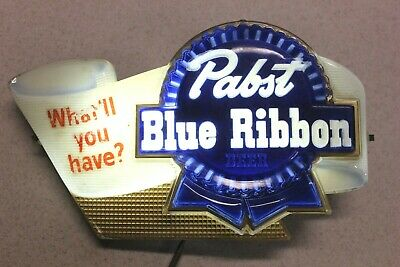 """Pabst Blue Ribbon Lighted Beer Sign """"What'll You Have"""" -  Working Condition"""