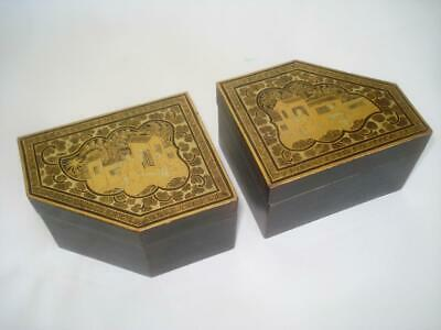 Pair Antique Chinese Export Gold & Black Lacquer Boxes 19Th Cent Mandarin Figure