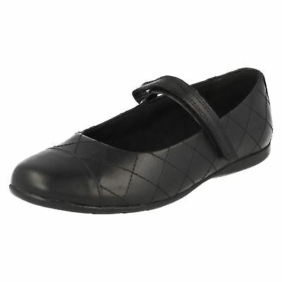 Clarks Dance Roxy Infant Girls Black Leather Riptape School Shoes Size 7.5 G New