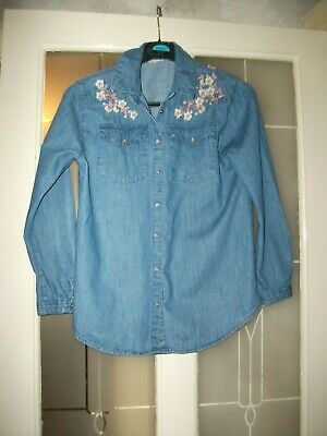 River Island Girls Denim Floral Embroidered Long-Sleeved Casual Blouse 11-12 Yrs