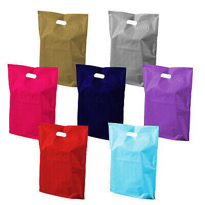 "100x Coloured Plastic Patch Handle Carrier Bags 10x12"" Gift Shop Retail Bags NEW"