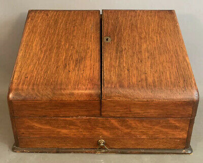 Antique ENGLISH OAK Old STORE KEEPER Counter Top SECRETARY Wood LETTER BOX Chest