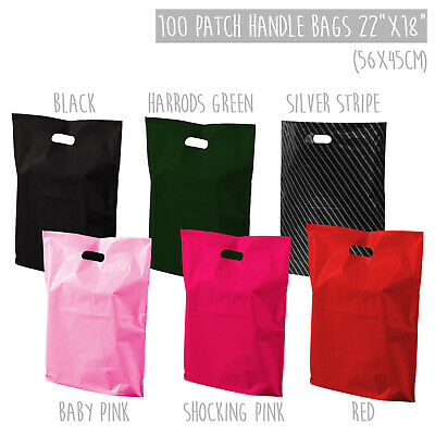 """22x18"""" XL Large Coloured Retail Plastic Carrier Bags Strong Patch Handle x100"""