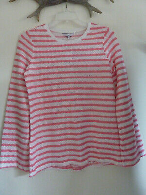 NEXT Pink White Striped Longline Fluted Sleeved Top Jumper Size 12 BNWT