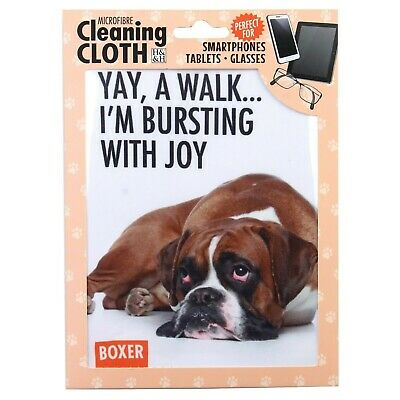 NEW Boxer Dog Microfibre Cleaning Screen Cloth - Phone / Glasses / Ipad / Ipod