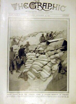 Original Old Antique Print French Redoubt Perthes German Lines Trench Ww1 1915