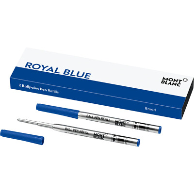 Montblanc 2 Ballpoint Pen Ink Refills (Broad) Royal Blue~ BRAND New in Box