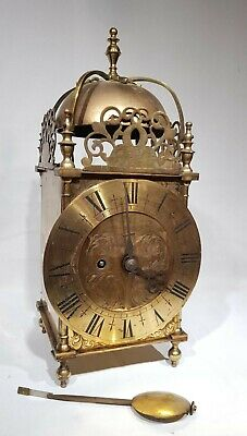 Large solid brass Single Fusee Lantern Clock