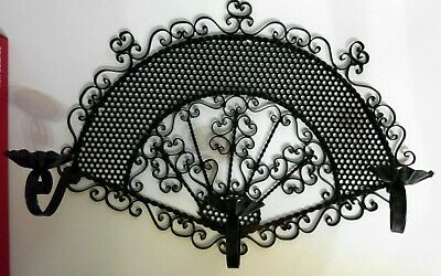 Antique Primitive Hand Forged Pricket Candle Holder Wrought Iron Black Wall