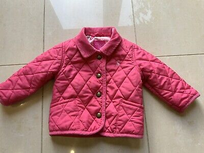 Joules Mabel Baby Girls Pink Quilted Coat 3-6 Mths AsNew