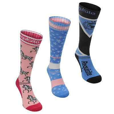 Requisite Kids Girls Socks 3 Pack Junior Equestrian Pattern Stretch size 1-6 NEW