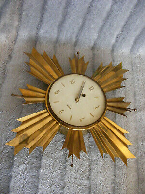 60's 70's Vintage Retro Style Smiths 8 Day Wall Clock Metal Gold Sunburst
