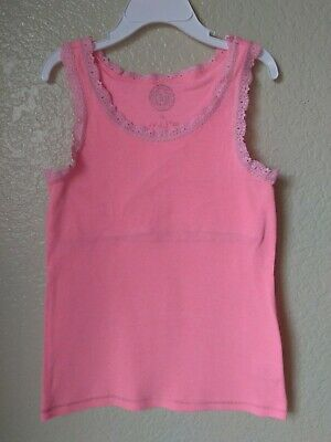 So Girls Bright Melon Orange Tank Top Built In Bra Size 10