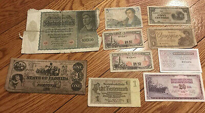 Lot of 10 Vintage Mixed Foreign World Currency Paper Money Collection - Lot #10
