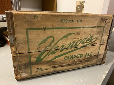 Vintage Vernor's Ginger Ale Soda Pop Wooden Crate Box Advertisement Man Cave