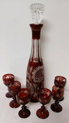 8pc Beautiful Ruby Cut to Clear Czech Bohemian Glass Decanter w/ Stag & Cordials