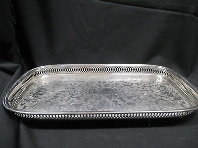 ONEIDA Silver Plated Serving Tray Rectangular Footed Silver Tray  #4122-32 H1